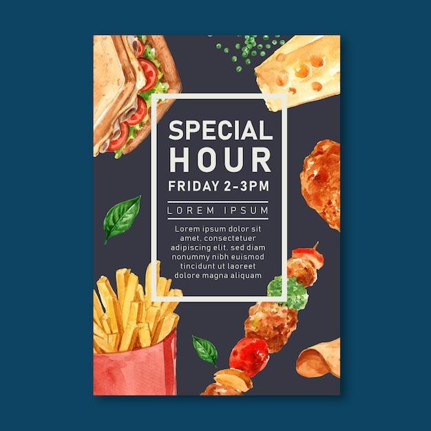 De affiche van het snel voedselrestaurant voor decorrestaurant kijkt smakelijk voedsel Gratis Vector