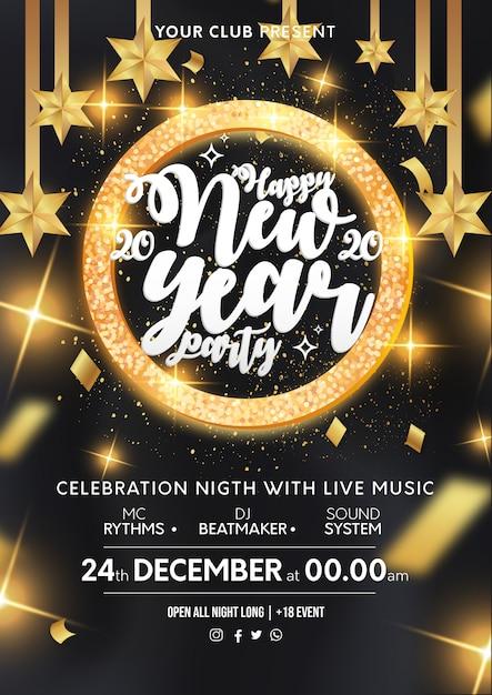 De affichemalplaatje van het moderne nieuwjaarfeest met gouden frame Gratis Vector