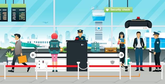 De agenten van de controlepost van de luchthaven wachten op passagiers om hun bagage in te checken Premium Vector