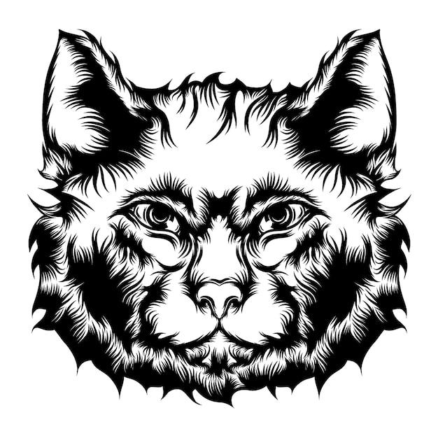 De animatie van de straatkat voor de ideeën voor tattoo-illustratie Premium Vector