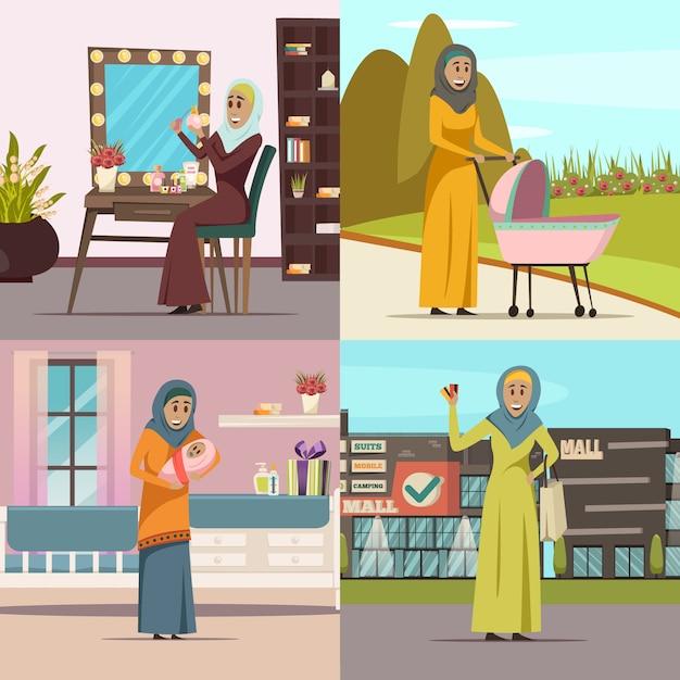 De arabische die pictogrammen van het vrouwenconcept met het winkelen geïsoleerde symbolenvlakte worden geplaatst Gratis Vector