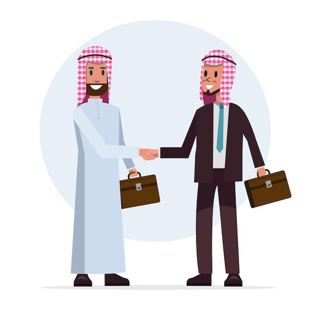 De arabische zakenman schudt hand voor samenwerking met partner Premium Vector