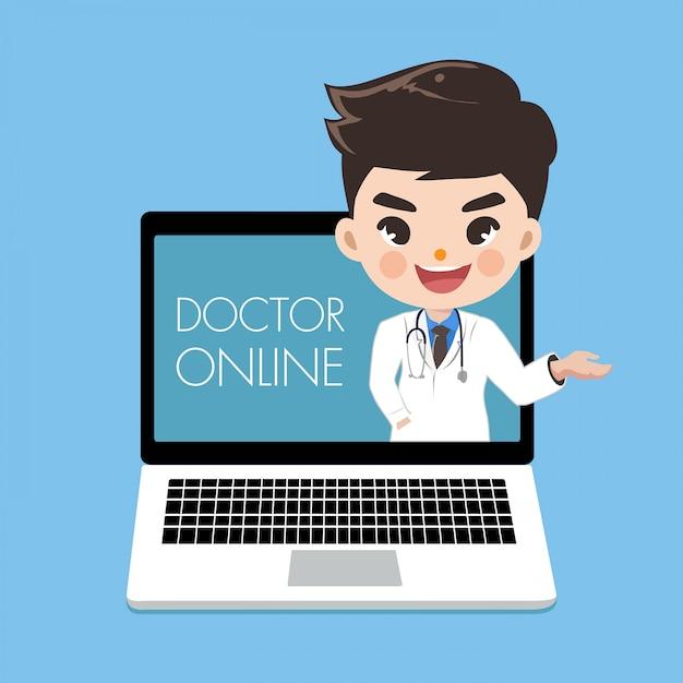 De arts adviseert patiënten via online kanalen of sociale media met een jonge vrouw die uit het scherm van de laptop komt. Premium Vector