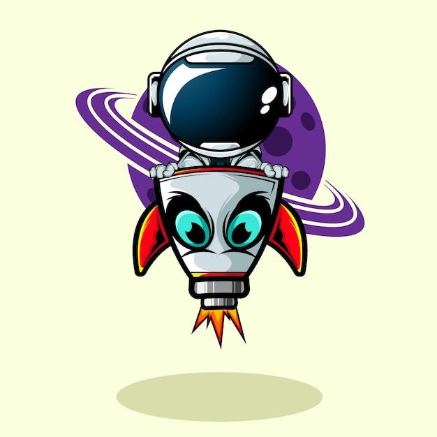 De astronaut binnen raketschip Premium Vector