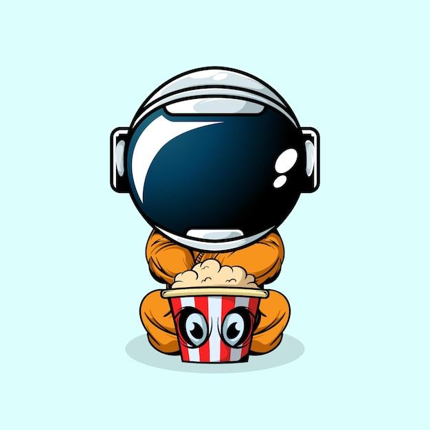 De astronaut en de monster popcorn Premium Vector