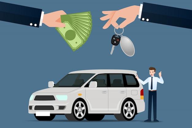 De autohandelaars wisselen af. Premium Vector