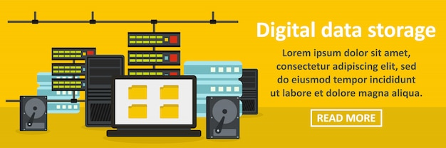 De banner horizontaal concept van de digitale gegevensopslag Premium Vector