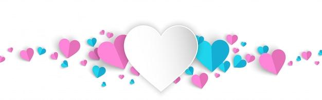 De banner van de achtergrond valentijnskaarten verkooppromo met hartdocument sneed stijl Premium Vector