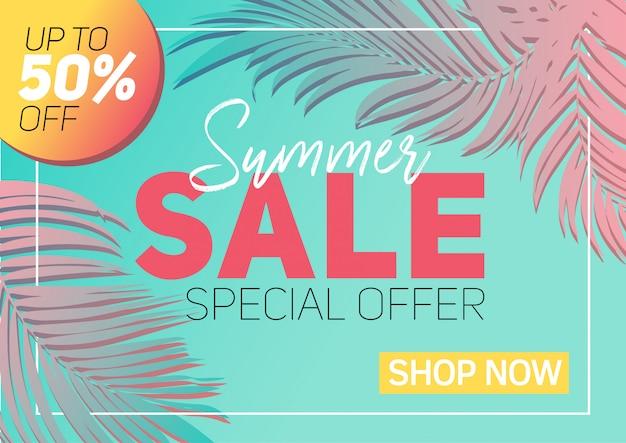 De banner van de de zomerverkoop met document sneed tropische bladeren, exotisch bloemenontwerp Premium Vector