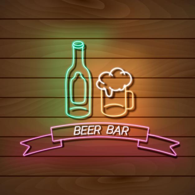 De banner van het bierbarneonlicht op een houten muur. groen en roze bord. decoratief realistisch retro element voor web Premium Vector