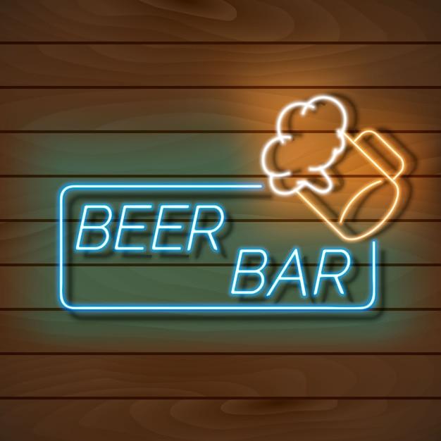 De banner van het bierbarneonlicht op een houten muur Premium Vector
