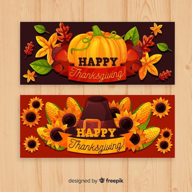 De banner van thanksgiving dayturkije met pompoenen wordt geplaatst die Gratis Vector