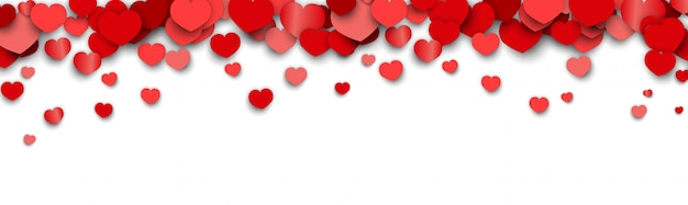 De bannerachtergrond van de valentijnskaartendag met verspreide hartstickers Premium Vector