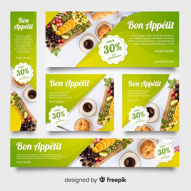 De bannerinzameling van de kantoorbehoeftenvoedsel met beelden Gratis Vector