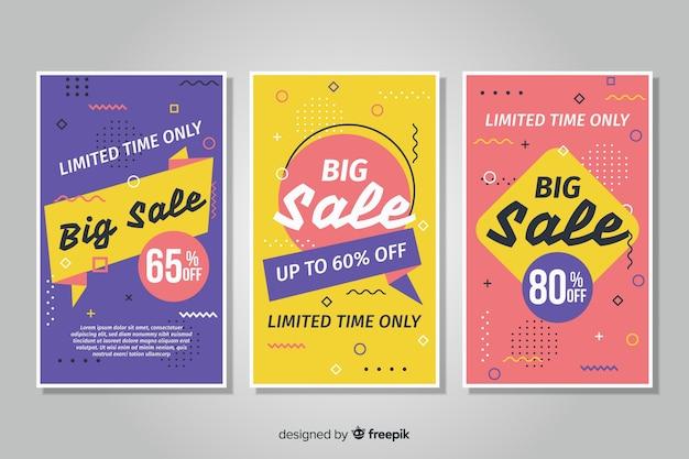 De bannerinzameling van de verkoop in de stijl van memphis Gratis Vector