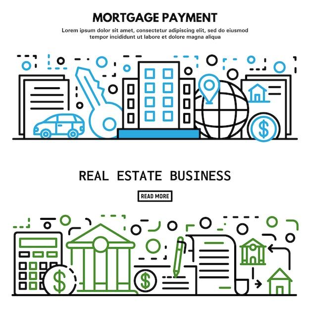 De bannerreeks van het hypotheekhuis, overzichtsstijl Premium Vector
