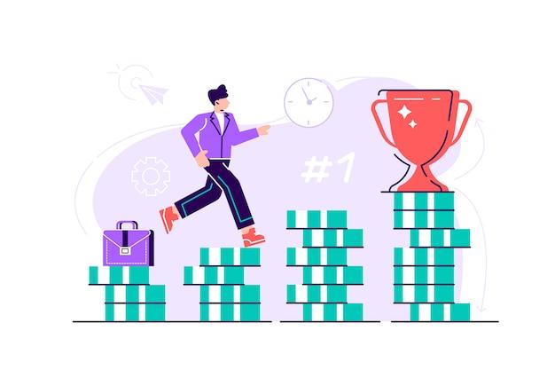 De bedrijfsmens beklimt treden van stapels muntstukken naar zijn financieel doel. persoonlijke investeringen en pensioensparen concept. vlakke stijl modern design illustratie voor webpagina, kaarten. Premium Vector