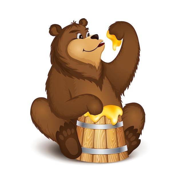 De beer eet honing Premium Vector