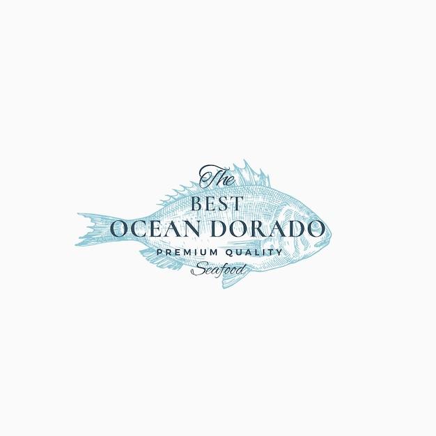 De beste ocean dorado abstracte teken-, symbool- of logo-sjabloon. Gratis Vector