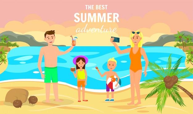 De beste zomeravontuur horizontale banner. strand Premium Vector