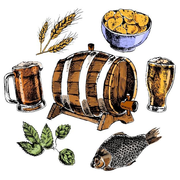 De bierelementen plaatsen met eiken vathop moutte gerstkorrel en snacks kleurrijke pictogrammen geïsoleerde vectorillustratie Gratis Vector