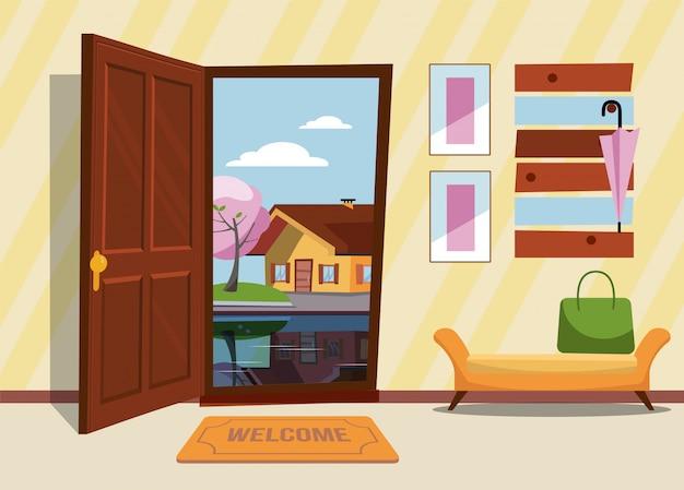 De binnengang met de deur open, een kapstok met parasols en slapende hond en een kat op de koffers. buiten erg nacht en gele bomen. platte cartoon stijl vectorillustratie. Premium Vector
