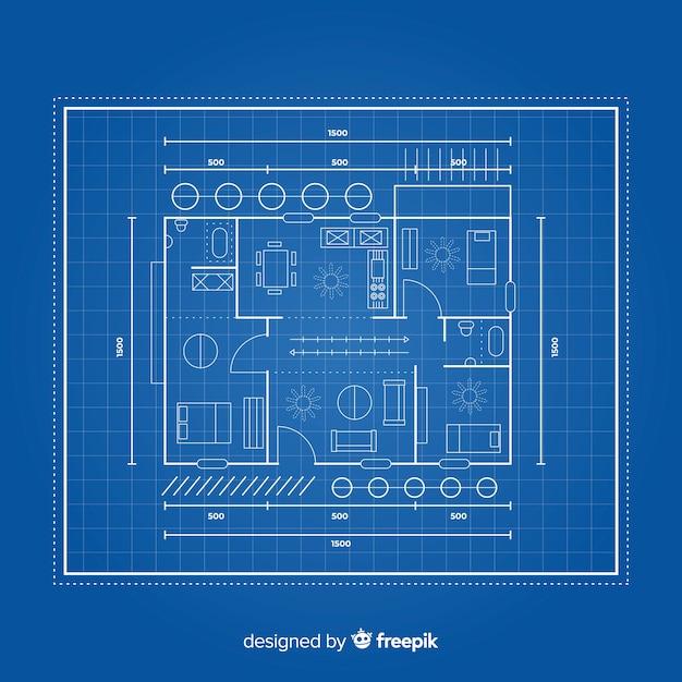 De blauwdruk van een huis lag Gratis Vector