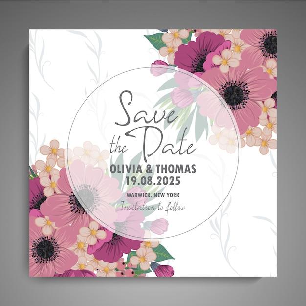 De bloemen elegante huwelijksuitnodiging nodigt kaartvector uit Gratis Vector