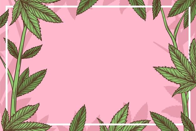 De botanische achtergrond van het cannabisblad met lege ruimte Premium Vector