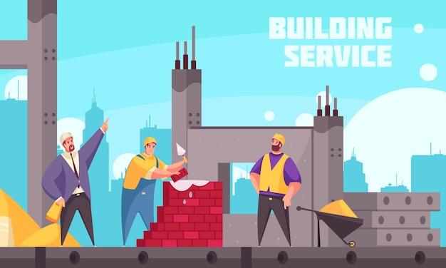 De bouw van de dienst vlakke affiche met industriële technicus die team van bouwers instrueren die metselwerkillustratie maken Gratis Vector