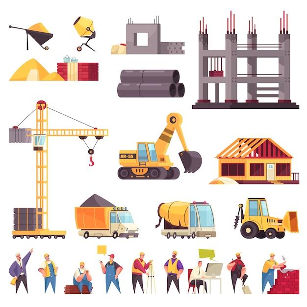De bouwvlakte plaatste met de onvolledige illustratie van de bulldozerarbeiders van de de bouwpijpen geïsoleerde de mixerillustratie van pictogrammen concrete graafwerktuig Gratis Vector