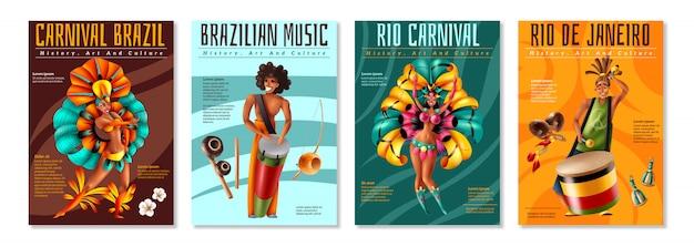 De braziliaanse jaarlijkse carnaval-realistische kleurrijke die affiches van festivalvieringen met traditionele muzikale instrumentenkostuums worden geplaatst isoleerden vectorillustratie Gratis Vector