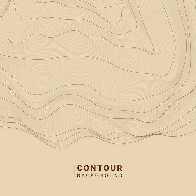 De bruine abstracte illustratie van contourlijnen Gratis Vector
