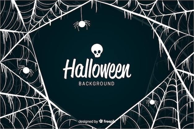 De buitensporige achtergrond van halloween van het spinnewebontwerp Gratis Vector