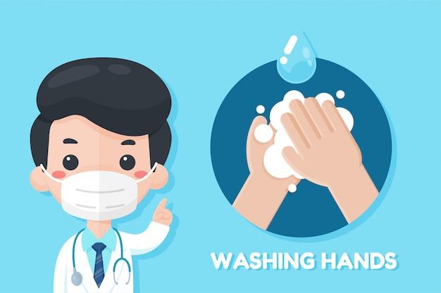 De cartoonarts raadt aan om de griep van het coronavirus te voorkomen door je handen te wassen met zeep. Premium Vector