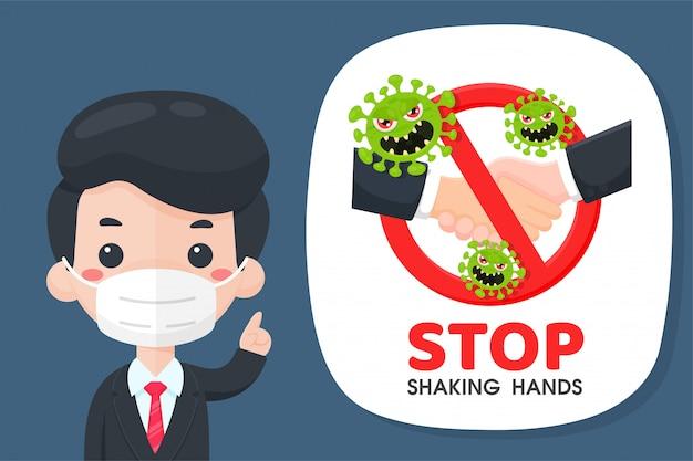De cartoonzakenlieden stopten de campagne met handen schudden om de uitbraak van het coronavirus te voorkomen. Premium Vector