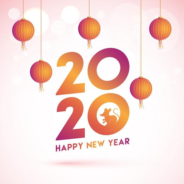 De chinese gelukkige kaart van de nieuwjaargroet met de teksten van 2020 met rattendierenriemteken en hangende lantaarns die op roze bokeh worden verfraaid. Premium Vector