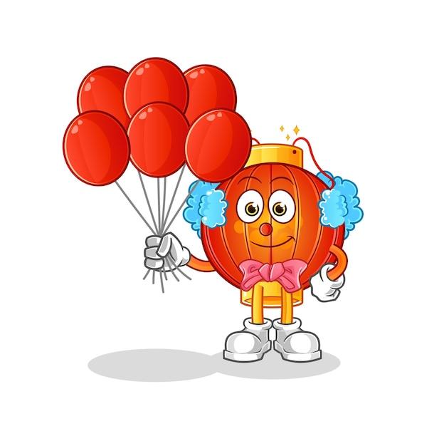 De chinese lantaarn clown met ballonnen karakter mascotte Premium Vector