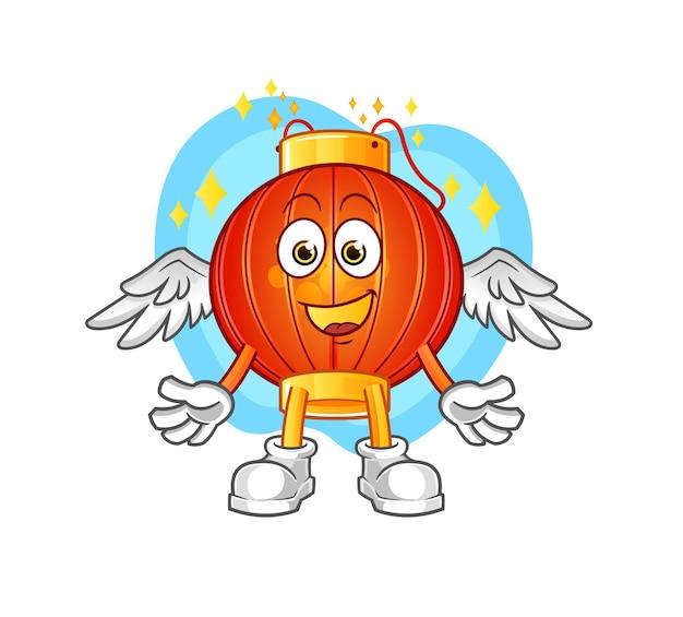 De chinese lantaarn engel met vleugels karakter mascotte Premium Vector