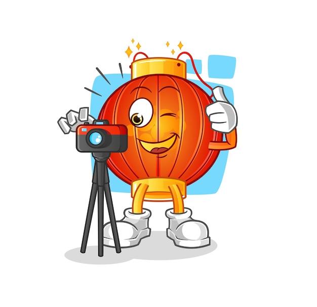 De chinese mascotte van het lantaarnfotograaf Premium Vector