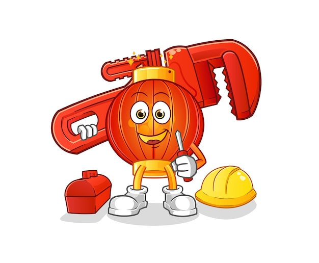 De chinese mascotte van het lantaarnloodgieter Premium Vector