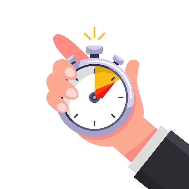 De coach houdt een stopwatch in zijn hand en geeft de tijd aan. Premium Vector