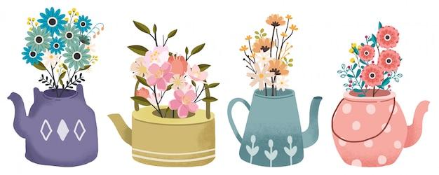 De collectie boeket bloemen in de theepot set. de lente bloem. de theetijd ingesteld. Premium Vector