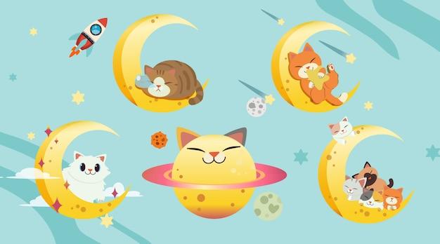 De collectie van kat met de maan ingesteld. de gelukkige kattenplaneet Premium Vector