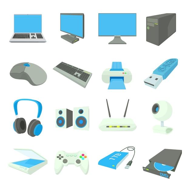 De computer equipmen pictogrammen in de vector van de beeldverhaalstijl worden geplaatst die Premium Vector