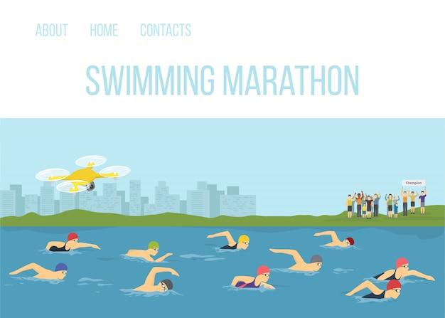 De concurrentie maraphone van zwemmeratleten in illustratie van het rivier de vectorbeeldverhaal. sportman freestyle zwemmen. sportcompetitie race-evenementen. mensen zwemmen met fans op de kust en quadcopter. Premium Vector