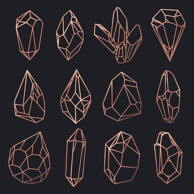 De contouren van kristallen en diamanten, edelstenen en rotsen Premium Vector