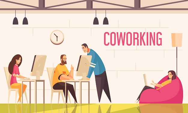 De coworkingmensen ontwerpen concept met groep positief gestemde creatieve personen die in bureau vlakke illustratie werken Gratis Vector