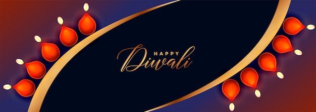 De creatieve gelukkige banner van het diwalifestival met diyadecoratie Gratis Vector