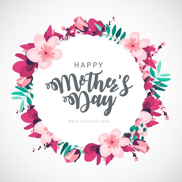 De dag bloemenachtergrond van de moderne gelukkige moeder Gratis Vector